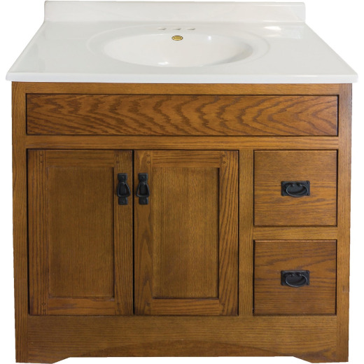 CraftMark Craftsmen Estate Oak 36 In. W x 34 In. H x 21 In. D Vanity Base, 2 Door/2 Drawer