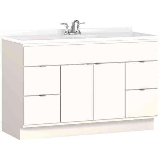 Bertch Riverside 48 In. W x 34-1/2 In. H x 21 In. D White Vanity Base, 2 Door/4 Drawer