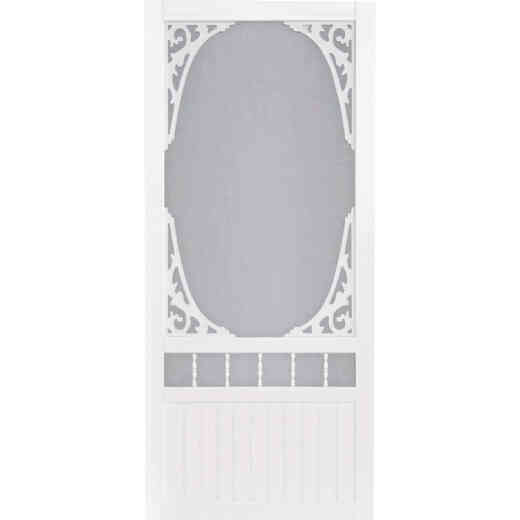 Screen Tight Springview 32 In. W x 80 In. H x 1 In. Thick White Vinyl Screen Door