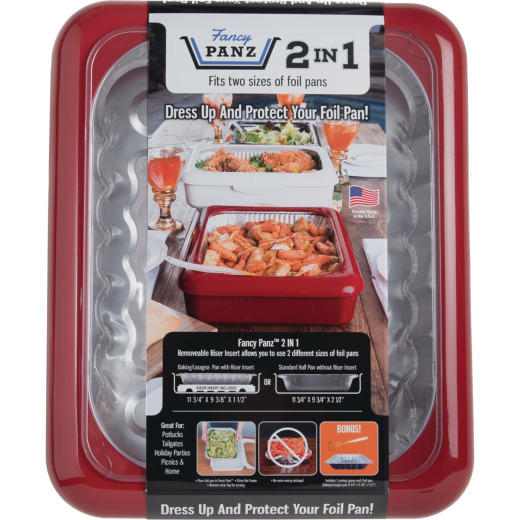 Fancy Panz 9.38 In. W. x 11.75 In. L. Red 2-In-1 Foil Pan Baking Carrier