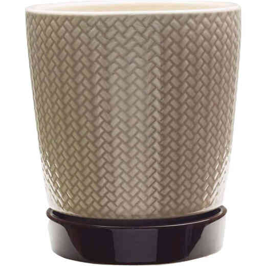 Southern Patio Alice 8.5 In. Ceramic Clayworks Light Brown Planter
